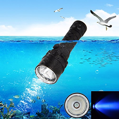 Black : Underwater 100M 10W XPE UV Light LED Diving Flashlig