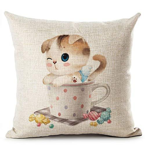 Amazon.com: Cute Cup Cat Animal Printed Cotton Linen Pillow ...