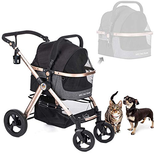 - HPZ Pet Rover Prime 3-in-1 Luxury Dog/Cat/Pet Stroller (Travel Carrier + Car Seat +Stroller) with Detach Carrier/Pump-Free Rubber Tires/Aluminum Frame/Reversible Handle for Medium & Small Pets (BLACK)