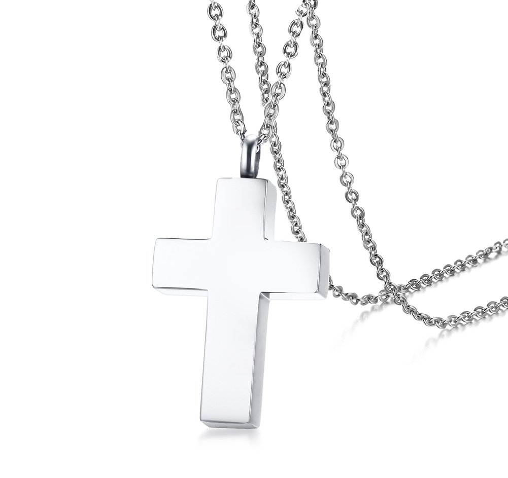 Personalized Custom Stainless Steel Memorial Cross Cremation Urn Pendant Necklace for Ashes,Sympathy Gift