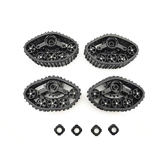 Hisoul for 1/16 WPL FY001 FY002 Military Truck RC Car Track Wheels Upgrade Rubber Durable Track Wheels Spare Parts - Black (4 pcs) (Black)