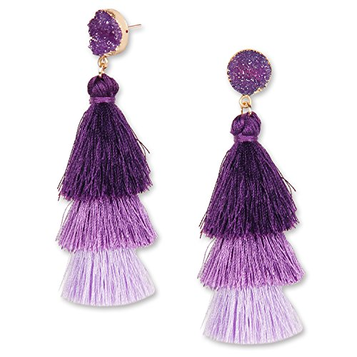 YOUTH UNION Colorful Tassel Earrings Multilayered Bohemian Style Dangle Drop Tiered Druzy Stud Earrings for Women Girls (Purple (Purple Resin Earrings)