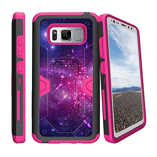 MINITURTLE Case Compatible w/ Case for [Samsung Galaxy S8 ACTIVE | S8 Active G892A][NOT FOR S8 or S8+][ PINK MAX DEFENSE ] Hybrid Case w/ Slim Built in Stand Holster Heavenly Stars (Stars Heavenly)