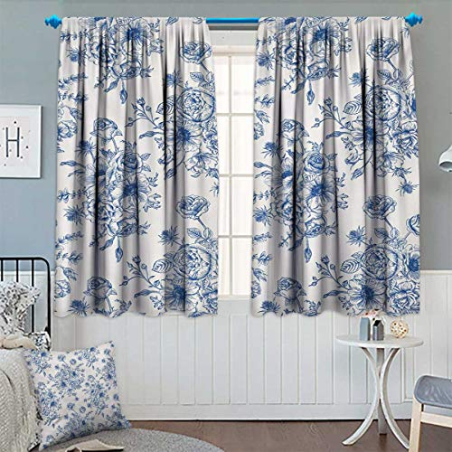 Chaneyhouse Anemone Flower Room Darkening Curtains Floral Pattern with Bouquet of Blue Flowers Delicate Victorian Design Decor Curtains by 55'' W x 45'' L Night Blue White by Chaneyhouse