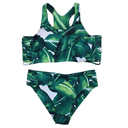 TOOPOOT Women's Bikini Set Sexy Leaves Straps Swimsuit Push-up Swimwear (S)