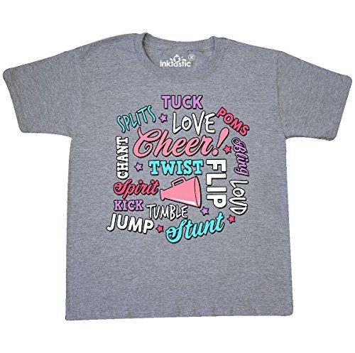 (inktastic - Cheer Word Youth T-Shirt Youth Medium (10-12) Athletic Heather)