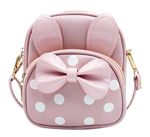 Rabbit Bowknot (Kids Cute Bowknot Shoulder Bag with Rabbit Ears Mini Schoolbag Handbag Satchel)