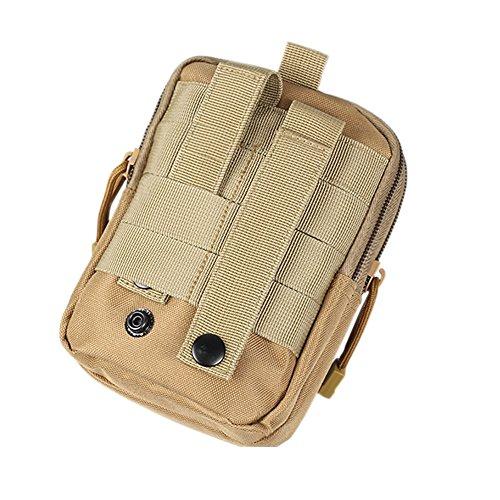 Outdoor Multi-Purpose Poly Waist Pack/Tactical Waist Bag EDC Utility Tool Holder/Travel Gadget Belt Waist Holster Holder Molle EDC Ponch(YB01-light brown)