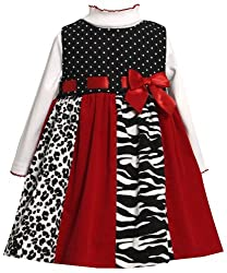 Bonnie Jean Little Girls Red Solid and Print Panel Corduroy Jumper Dress (2T, Black/White)