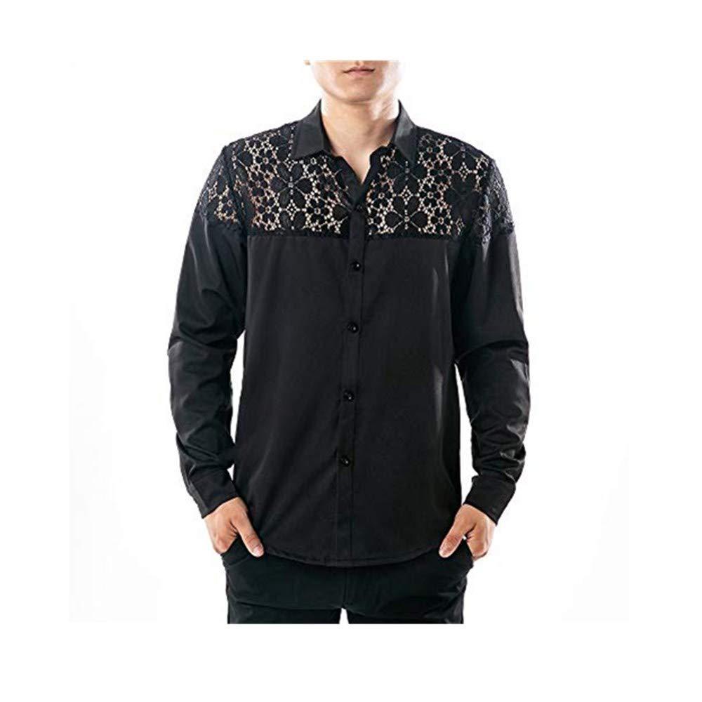 Mens Top Charberry Autumn Full Lace Nightclub Hollow Long Sleeve Lapel Shirt Hollow Shirt Top Blouse