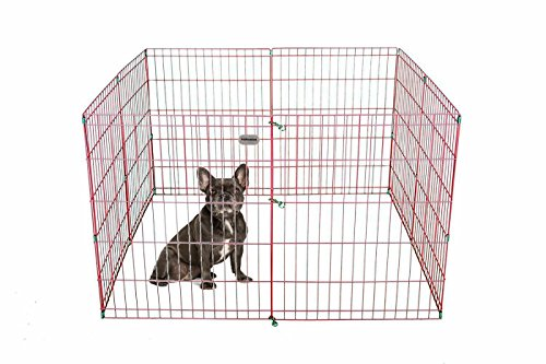 PetPremium Dog Puppy Playpen Pen | Indoor Outdoor Exercise Play Yard Outside | Pet Small Animal Puppies Portable Foldable Fence Enclosures | 30″ Height, 8 Panel Metal Wire, Pink