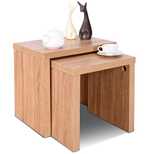 Giantex Set of 2 Nesting End Tables Accent Wood Color Home Decor Casual Style Living Room Furniture Sofa Side Nesting Coffee Tables (Honeycomb Plate)