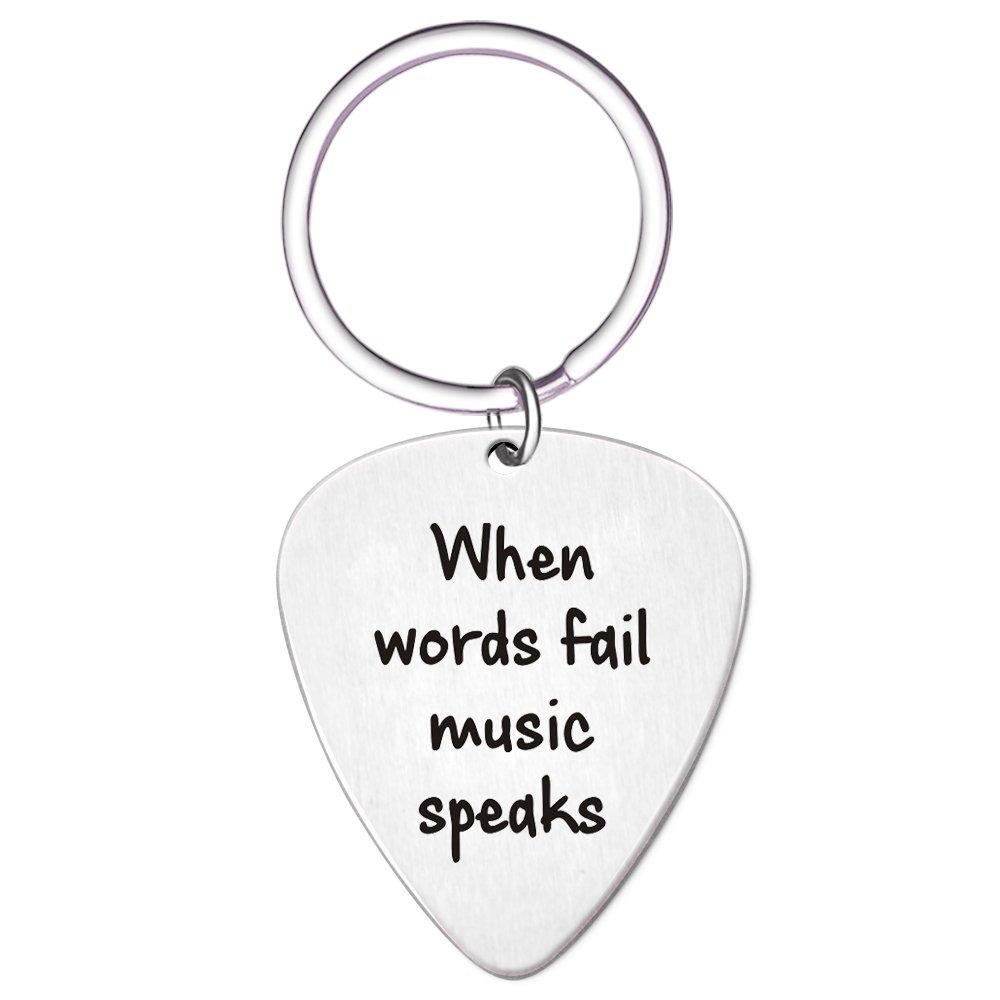 When Words Fail Music Speaks Guitar Pick Key chain by Paris Selection