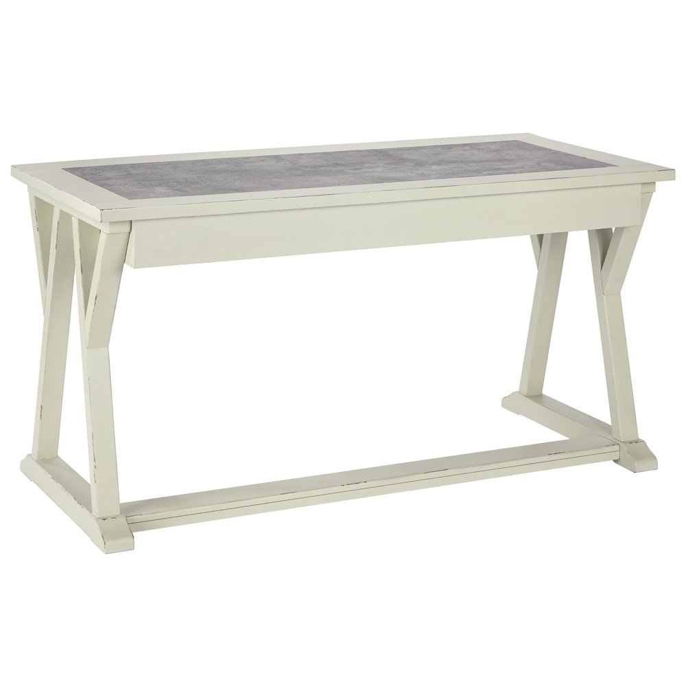 Ashley Furniture Signature Design - Jonileene Home Office Large Desk - 3 Drawers - Distressed White Finish - Faux Cement Top - Dark Gray Hardware by Signature Design by Ashley