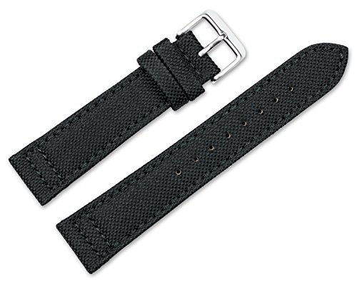 22mm-replacement-watch-band-nylon-canvas-w-leather-lining-black-watch-strap