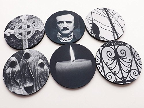 Poe Coasters Halloween Hostess Gift gothic home decor raven cemetery (Halloween Drink Ideas For A Bar)
