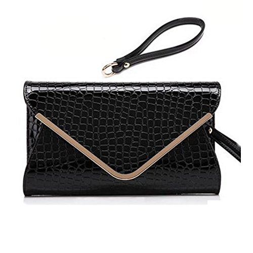 Evening Party Skin Envelope Bag Croc Patent Black Womens Embossed Clutch qUZS5w0