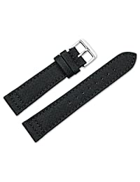 22mm Replacement Watch Band - Nylon Canvas w/ leather lining - Black Watch Strap