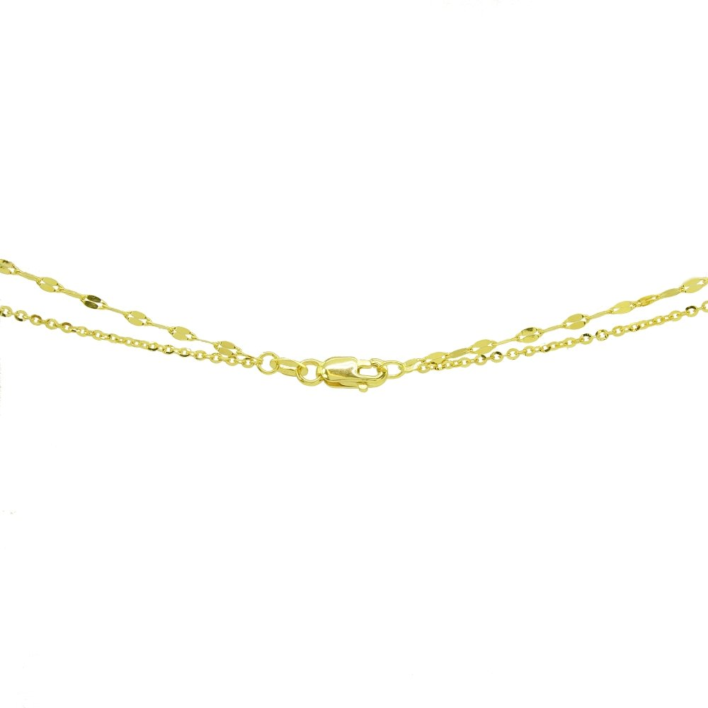 14K Yellow Gold Italian Chain Hammered Mariner Layered Dainty Lariat Y-Necklace Hoops /& Loops