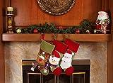 "3 Pcs Set - Classic Christmas Stockings 18"" Cute Santas Toys Stockings (Fleece Trim)"