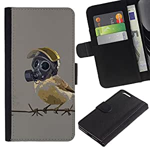 KLONGSHOP // Tirón de la caja Cartera de cuero con ranuras para tarjetas - Pájaro en máscara de gas - Apple Iphone 6 PLUS 5.5 //