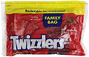 TWIZZLERS Twists, Strawberry Flavored  Licorice Candy, 24 Ounce Resealable Pouch (Pack of 6) (Halloween Candy)