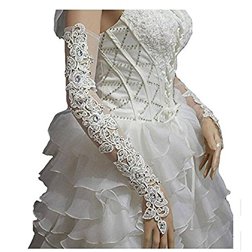 WHZZ Womens Lace Fingerless Long Bridal Gloves For Wedding Party Beaded Rhinestone