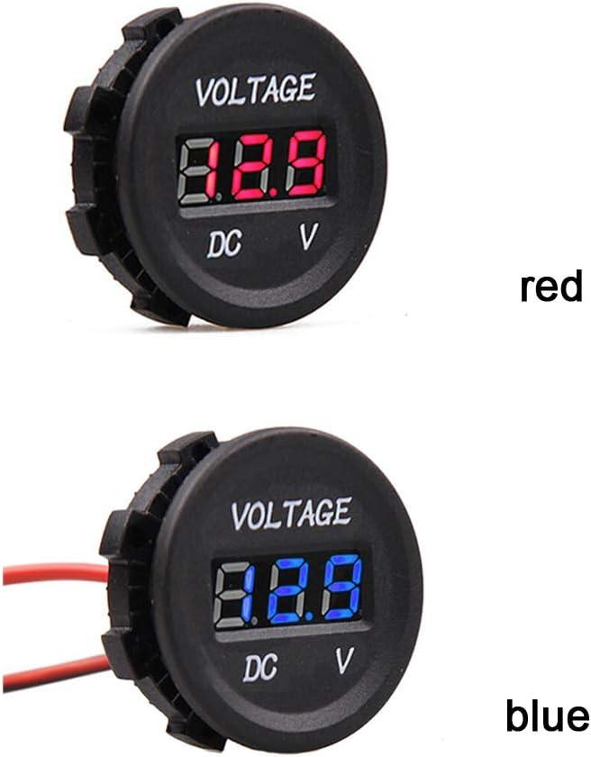 armine88 Volt/ímetro Digital Protecci/ón Impermeable Durable Indicador LED Voltaje Motocicleta Barco Herramientas Medici/ón Redonda Universal Mini Carro montado en Coche Rojo
