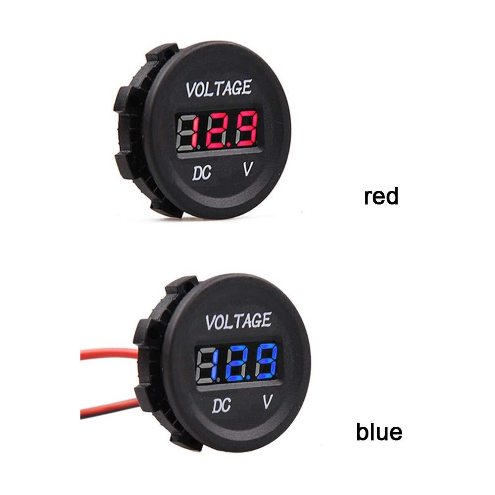 termometro Digitale con voltmetro a LED Montato in Auto Digitale Gamma DC di 12V-24V per Camion Moto Barca SUNERLORY Mini voltmetro Digitale Impermeabile