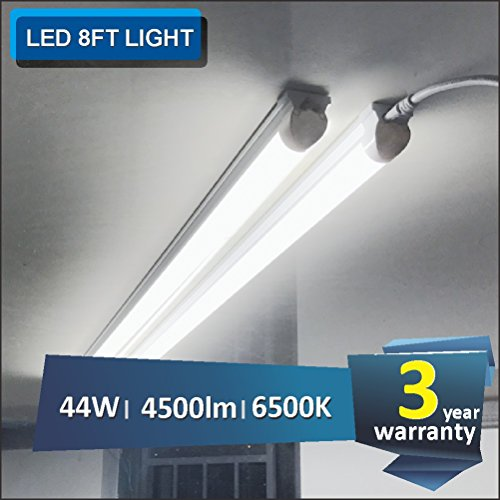 (Pack of 6) Barrina 8ft Led Tube Light Fixture 44w 4500lm 6500K (Super Bright White) for Garage Shop Warehouse Corded Electric with Built-in ON/OFF Switch by Barrina (Image #1)
