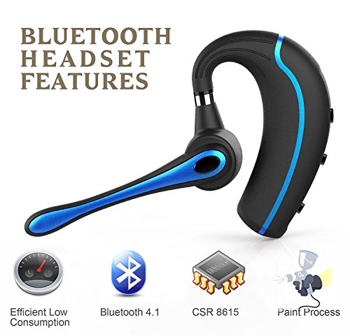 Walless Bluetooth Headset,Wireless Earpiece V4.1Hands Free Microphone for Business, Office,Driving,Work for iPhone/Samsung/Android Cell Phones (Black-B) by walless (Image #3)