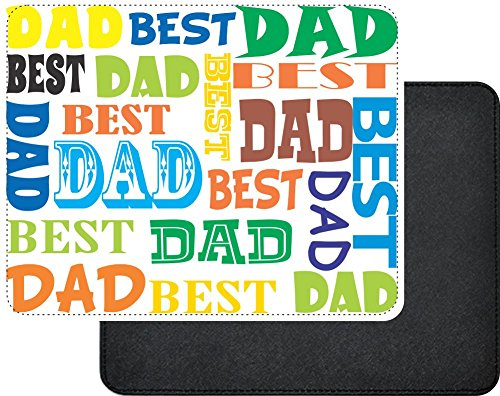 Rikki Knight Best Dad Multi Color Father's Day Design Faux Leather Rectangular Mouse Pad by Rikki Knight