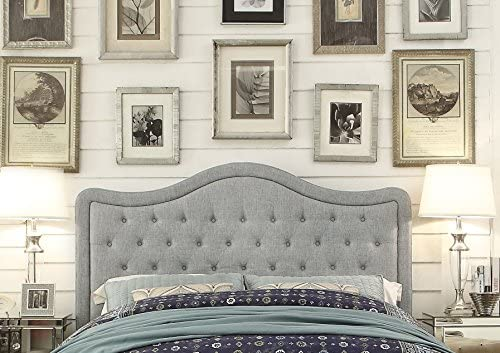 Rosevera Turin Tufted Upholstered Headboard, Queen Size, Grey