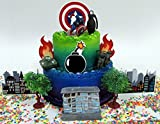 Avengers Captain America Themed Birthday Cake Topper Set Featuring Captain America and Decorative Themed Accessories