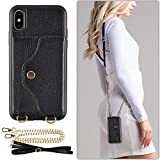 iphone XS Wallet Case, LAMEEKU iphone X Case with Credit Card Holder Slot Leather Case, shockproof Protective Back Cover with Crossbody Chain Strap &Wrist Strap for Apple iPhone X/iPhone XS 5.8″ Black