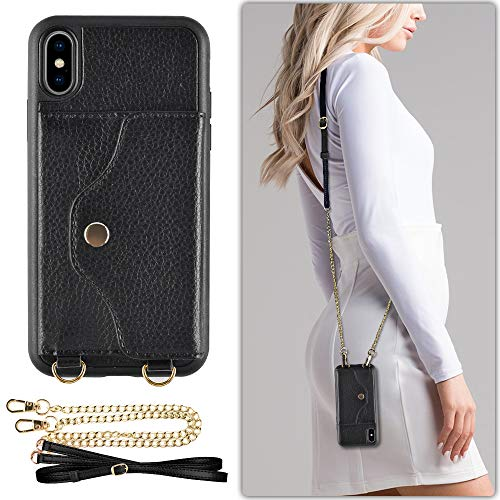 LAMEEKU iPhone Xs Wallet Case, iPhone X Case with Credit Card Holder Slot Leather Case, Shockproof Protective Back Cover with Crossbody Chain Strap Wrist Strap for Apple iPhone X/iPhone Xs 5.8