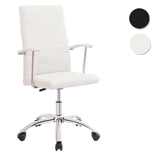Adec - Silla oficina estudio Look tapizado símil piel Blanco Roto