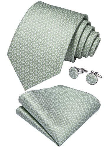- DiBanGu Mens Polka Dot Necktie Silk Sage Green Tie and Pocket Square Cufflink Set Party