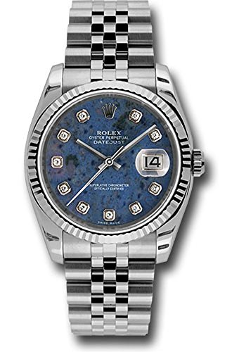 Rolex Oyster Perpetual Datejust 36mm Stainless Steel Case, 18K White Gold Fluted Bezel, Sodalite Dial, Diamond Hour Markers, and Jubilee Bracelet.