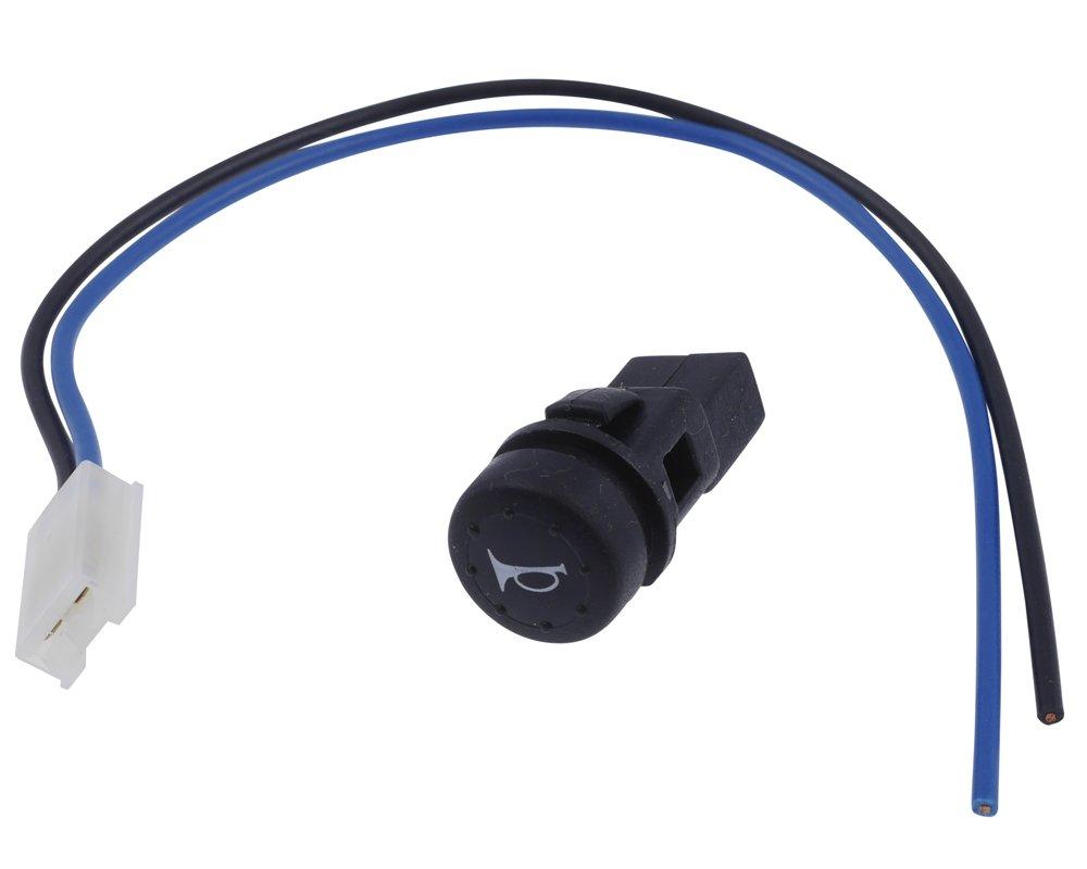 Hupenknopf zum Festklemmen, mit Symbol, schwarz, fü r Einbau in Armatur, 17 mm. PW
