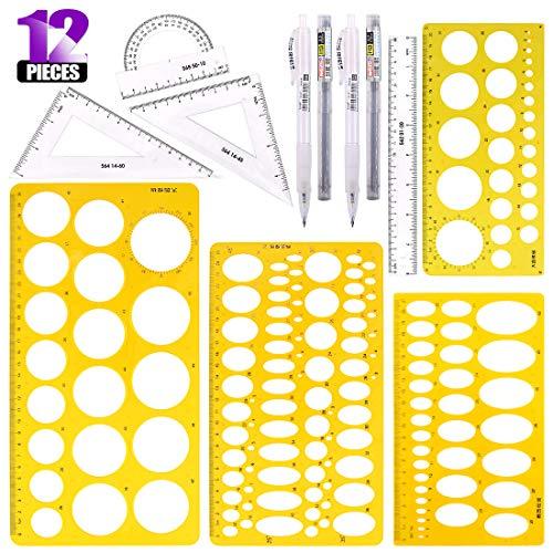 Swpeet 12Pcs Plastic Yellow Geometric Drawings Templates Kit, 4 Different Geometric Measuring Drawings Templates Stencils with 2Pcs Pencil and 4Pcs Measuring Ruler for Drawing Engineering Drafting