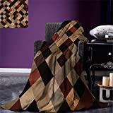 smallbeefly Grunge Digital Printing Blanket Antique Looking Checkered Pattern in Brown Tones Vintage Grid Artistic Aged Display Summer Quilt Comforter Multicolor