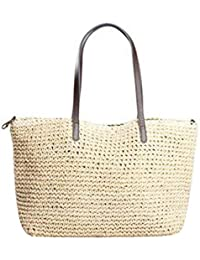 Women Rattan Fashion Straw Weaving Handbag Small Tote Adjustable Sling Bag Shoulder Bag Shopping Beach Travel