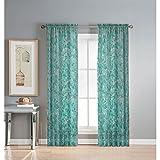 Cheap Window Elements Pinehurst Printed Sheer Extra Wide 54 x 84 in. Rod Pocket Curtain Panel, Aqua