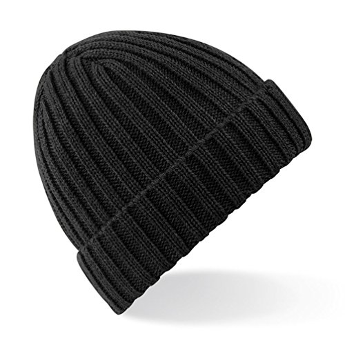 Beechfield Unisex Winter Chunky Ribbed Beanie Hat (One Size) (Black)