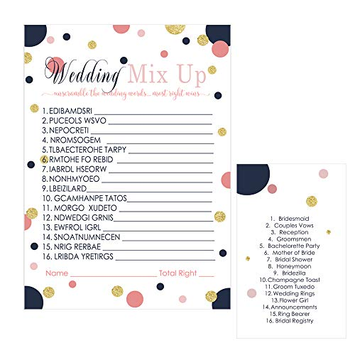 Navy and Coral Bridal Shower Game - Word Scramble - Pack of 25 -