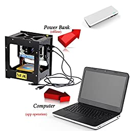 GXG-1987 NEJE DK-8Pro-3 300mW Mini USB Laser Engraver Printer Carver Automatic DIY Engraving Machine Off-line Operation with Protective Glasses(500mw with Engraving Preview ON/OFF Button(Black)
