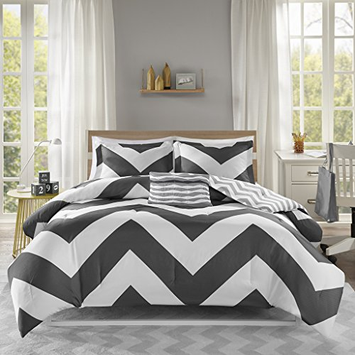 Mi Zone Libra Comforter Set Full/Queen Bedding Sets - Black , Chevron - 4 Piece Teen Bed Set - Ultra Soft Microfiber Bed Comforter
