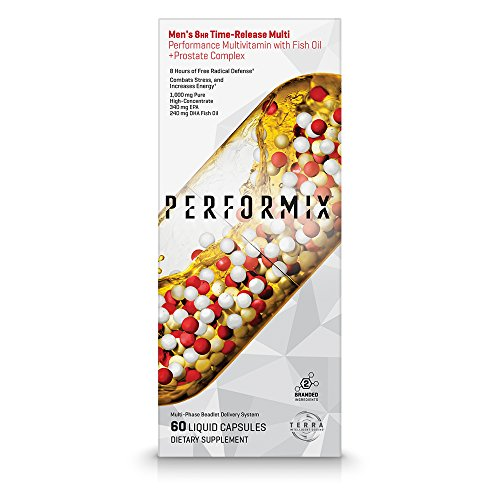 PERFORMIX Men's 8hr TimeRelease Multi, Performance Multivitamin with Fish Oil + Prostate Complex, 60 Capsules