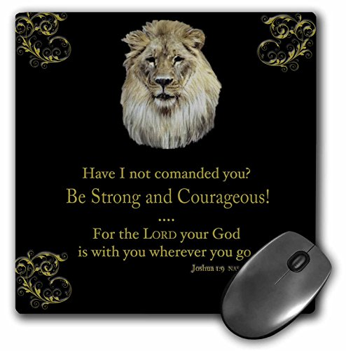 "3dRose LLC 8 x 8 x 0.25 Inches Mouse Pad, Joshua 1 Verse 9 ""Be Strong and Courageous"" Lion in Gold on Black (mp_42588_1)"
